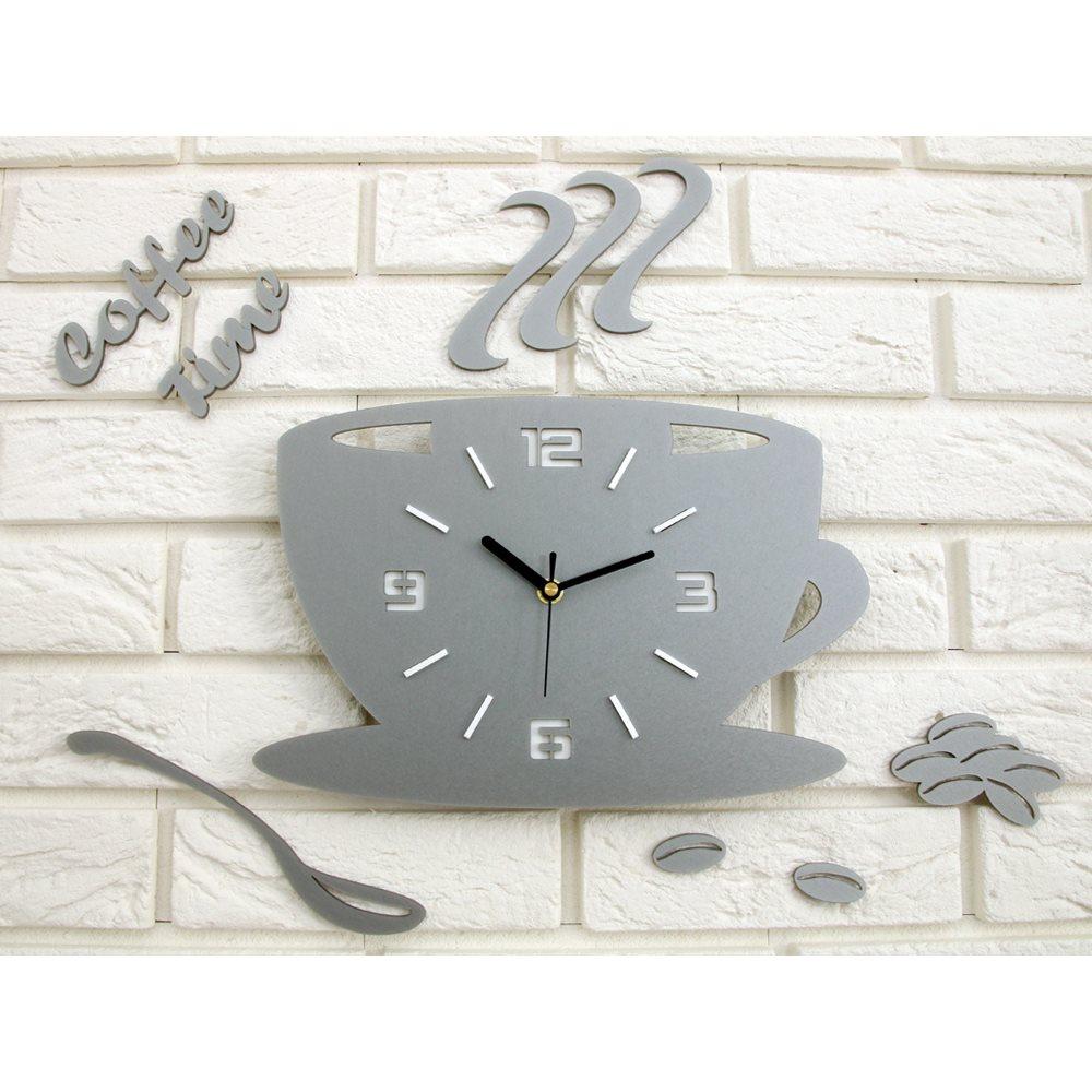 Zegar ścienny Coffe Time 3D Stone Grey