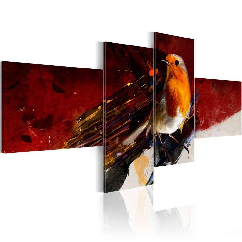 Obraz  Malutki ptaszek na czterech częściach